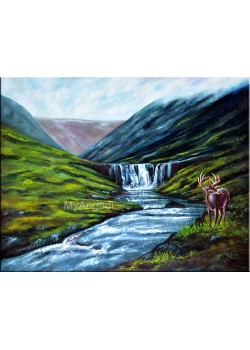 Water Fall Natural Scenary Oil Painting