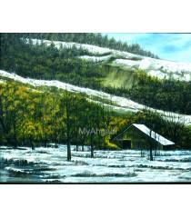Snowfall Natural Scenary Oil Painting