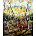 Tribal Women with Wood Logs Natural Scenary Oil Painting