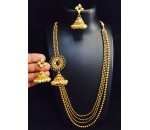 Necklace with Earrings - Blue Kundan Stone
