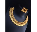 Necklace with Earrings - Red Kundan Stone