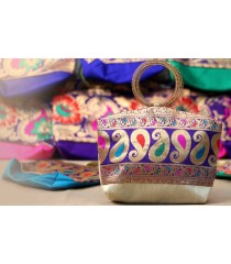 Gorgeous White Blue Mango Design Bag for Return Gifts