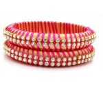 Pink Gold Silk Thread Bangle