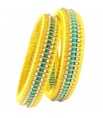 Yellow Sky Blue Silk Thread Bangle