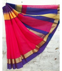 Red Blue Silk Cotton Saree