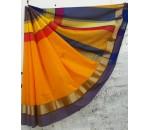 Golden Yellow Blue Silk Cotton Saree