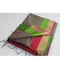 Grey Green Silk Cotton Saree