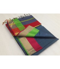 Dark Grey Red Green Silk Cotton Saree