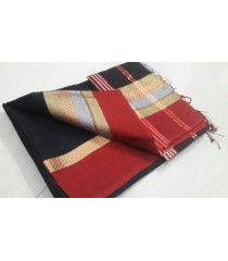 Black Red Silk Cotton Saree