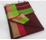 Brown Red Green Silk Cotton Saree