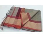 Grey Red Silk Cotton Saree