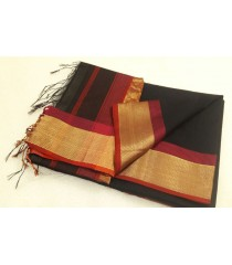 Black Maroon Silk Cotton Saree