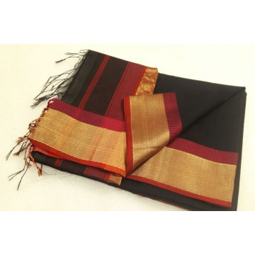 Black Maroon Silk Cotton Saree