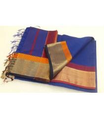 Blue Orange Red Silk Cotton Saree