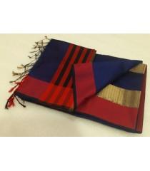 Blue Red Silk Cotton Saree
