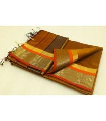 Mustard Brown Orange Silk Cotton Saree