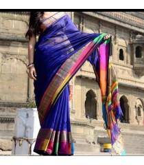 Blue Pink Silk Cotton Saree