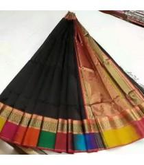 Black Multicolour Silk Cotton Saree