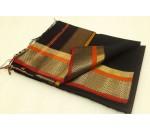 Black Orange Gold Silk Cotton Saree