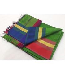 Green Red Blue Silk Cotton Saree
