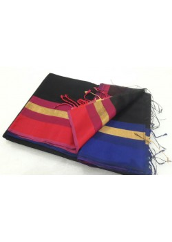 Black Blue Red Silk Cotton Saree