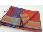 Orange Blue Silk Cotton Saree