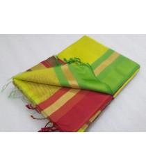 Green Red Silk Cotton Saree