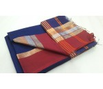 Blue Brown Silk Cotton Saree