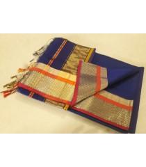 Blue Gold Orange Silk Cotton Saree