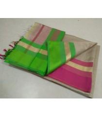 Grey Green Pink Silk Cotton Saree