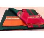 Green Orange Pink Silk Cotton Saree