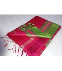 Pink Green Silk Cotton Saree