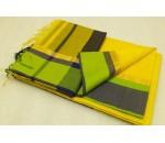 Yellow Green Black Silk Cotton Saree