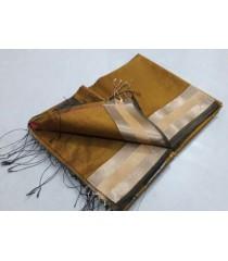 Mustard Green Silver Silk Cotton Saree
