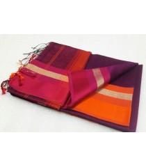Purple Pink Orange Silk Cotton Saree