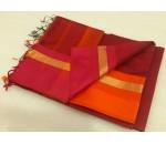 Brown Pink Orange Silk Cotton Saree