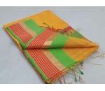 Sandal Green Pink Silk Cotton Saree