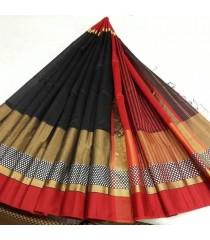 Black Red Gold Silk Cotton Saree