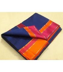 Blue Orange Pink Silk Cotton Saree