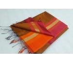 Mustard Orange Pink Silk Cotton Saree