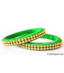 Lime Green Silk Thread Bangles-2 Set