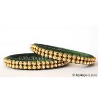 Dark Green Silk Thread Bangles-2 Set