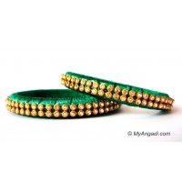 Green Silk Thread Bangles-2 Set