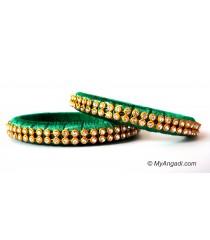 Green Silk Thread Bangles-2 Set