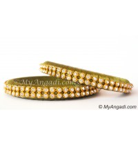 Olive Green Colour Silk Thread Bangles-2 Set