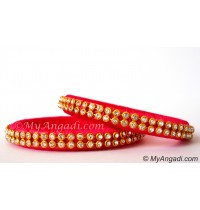 Pink Silk Thread Bangles-2 Set