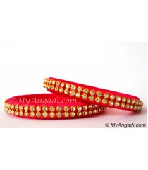 Pink Silk Thread Bangles-2 Set