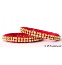 Magenta Colour Silk Thread Bangles-2 Set