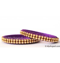 Violet Colour Silk Thread Bangles-2 Set