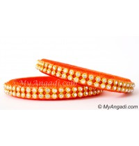 Orange Colour Silk Thread Bangles-2 Set
